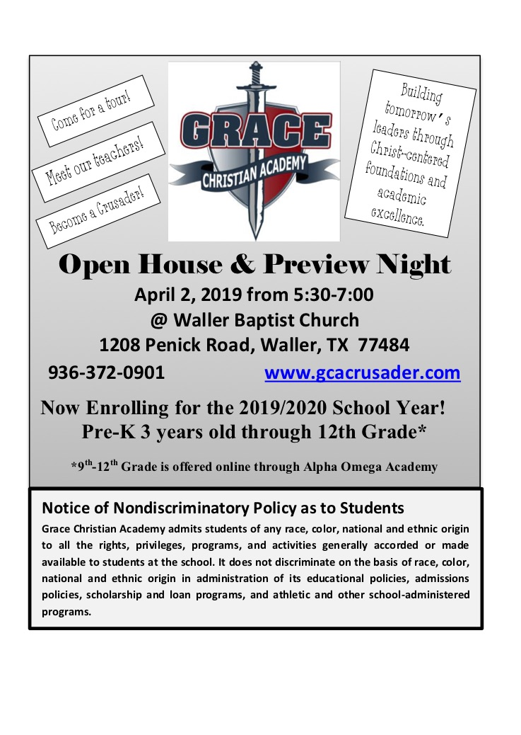 Announcements - Grace Christian Academy (Formerly Waller